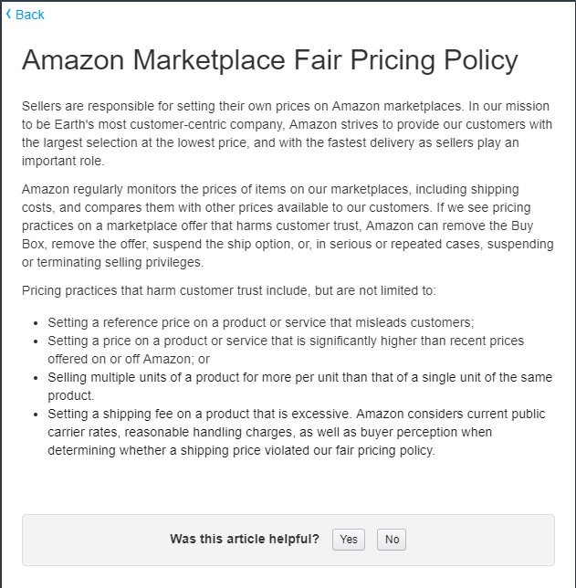Amazon Fair Pricing Policy
