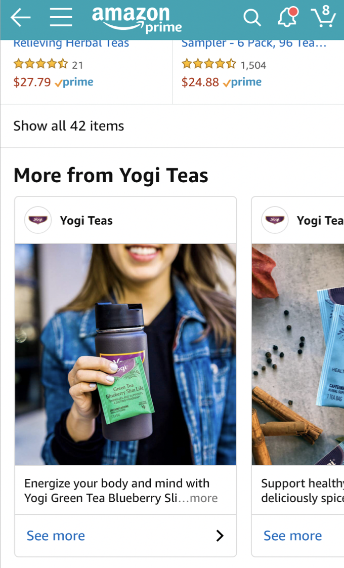 Using Amazon Posts beta can be beneficial for brands like Pattern's eCommerce partner Yogi Tea, who repurposes their social media content for their Posts feed.
