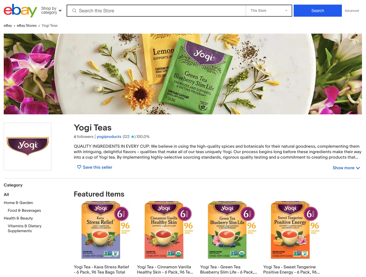 eBay offers customized storefronts to brands, and Pattern's eBay experts helped our brand Yogi Tea create a great product storefront on eBay.