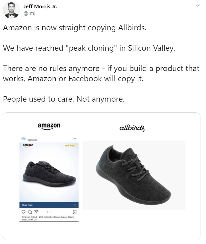 Amazon created a copycat shoe of Allbirds, sparking a controversy between Allbirds CEO Joey Zwillinger about Amazon private label products.